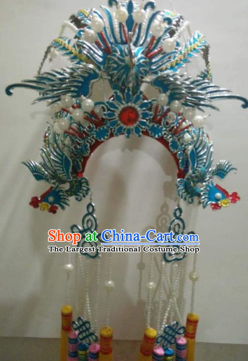 Traditional Chinese Shaoxing Opera Phoenix Coronet Hat Ancient Court Princess Headwear for Women