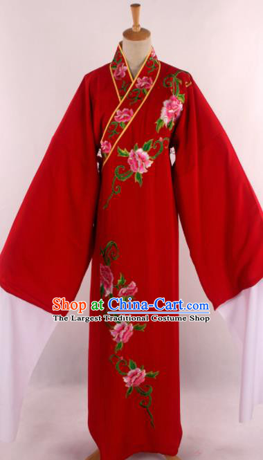 Traditional Chinese Shaoxing Opera Niche Embroidered Red Robe Ancient Nobility Childe Costume for Men