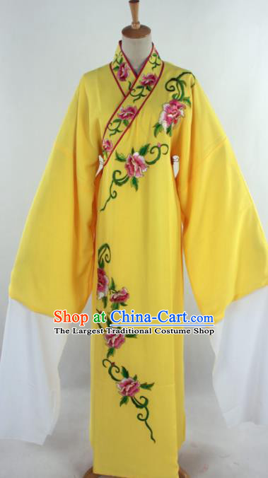 Traditional Chinese Shaoxing Opera Niche Embroidered Yellow Robe Ancient Nobility Childe Costume for Men