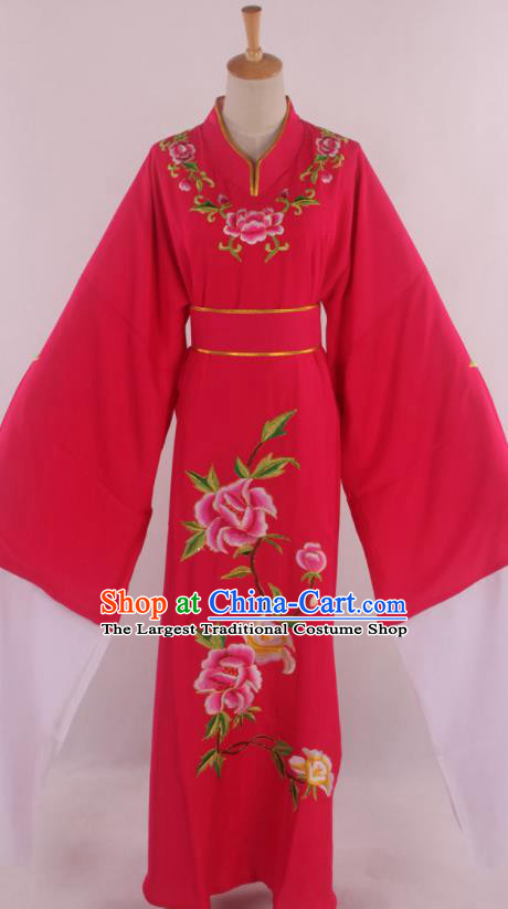 Traditional Chinese Shaoxing Opera Niche Scholar Embroidered Rosy Robe Ancient Nobility Childe Costume for Men