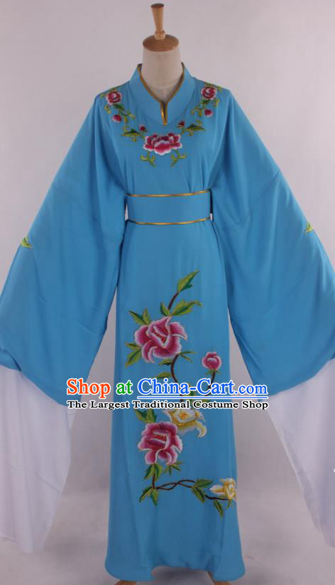 Traditional Chinese Shaoxing Opera Niche Scholar Embroidered Blue Robe Ancient Nobility Childe Costume for Men