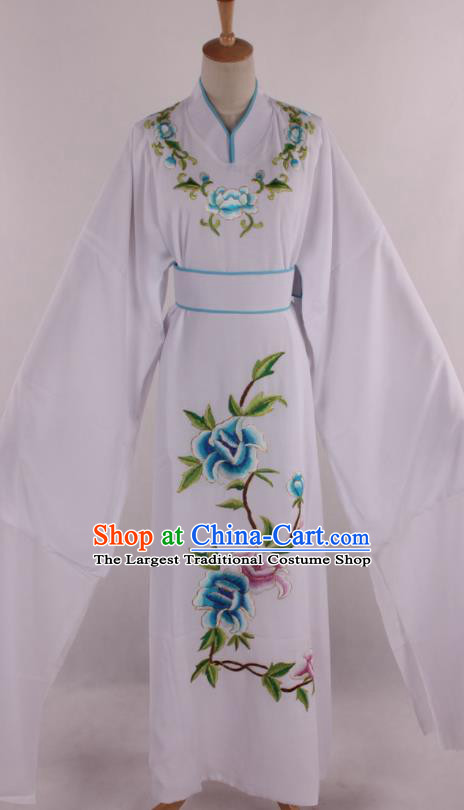 Traditional Chinese Shaoxing Opera Niche Scholar Embroidered White Robe Ancient Nobility Childe Costume for Men