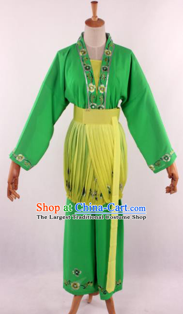 Chinese Traditional Beijing Opera Servant Girl Green Clothing Ancient Peking Opera Young Lady Costume for Women