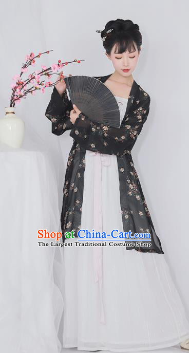 Chinese Ancient Drama Printing Black Hanfu Dress Traditional Song Dynasty Young Lady Replica Costumes for Women