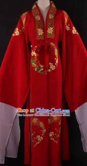 Traditional Chinese Shaoxing Opera Niche Gifted Scholar Red Robe Ancient Childe Costume for Men