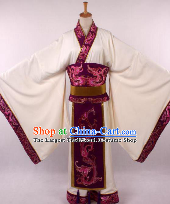 Traditional Chinese Shaoxing Opera Niche Embroidered White Clothing Ancient Han Dynasty Minister Costume for Men