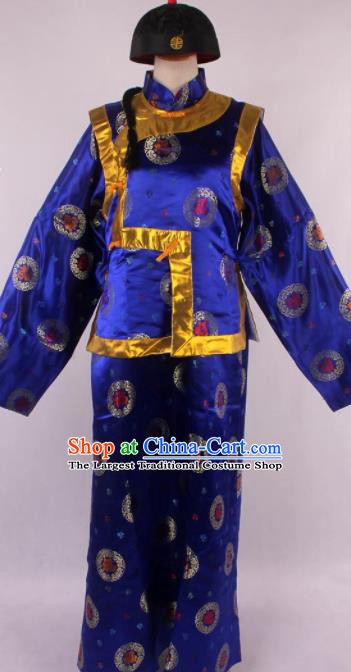 Traditional Chinese Shaoxing Opera Gown and Mandarin Jacket Ancient Qing Dynasty Landlord Costume for Men