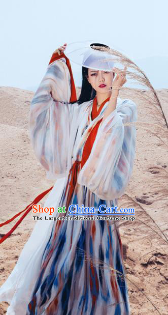 Chinese Ancient Drama Female Swordsman Hanfu Dress Traditional Jin Dynasty Court Princess Replica Costumes for Women