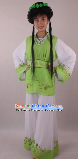 Professional Chinese Beijing Opera Servant Girl Green Clothing Ancient Traditional Peking Opera Costume for Women