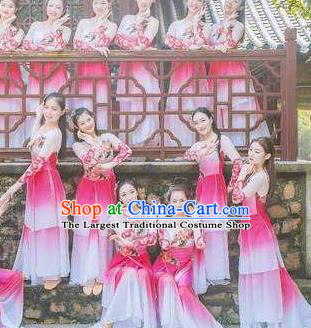 Traditional Chinese Classical Dance Fu Sheng Ci Costume Beautiful Dance Pink Dress for Women