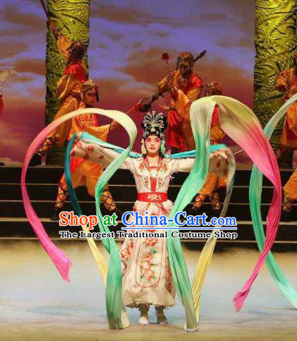 Traditional Chinese Classical Dance Guo Se Tian Xiang Costume Beautiful Dance Colorful Ribbon Dress for Women