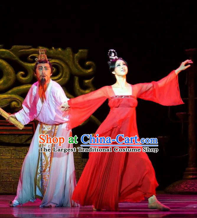 Traditional Chinese Classical Dance Confucius Costume Drama Stage Show Beautiful Dance Red Dress for Women
