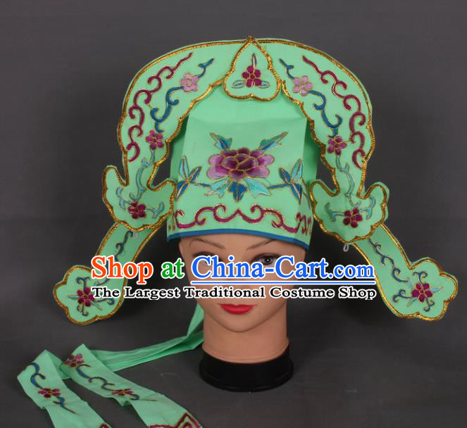 Traditional Chinese Shaoxing Opera Niche Green Hat Ancient Gifted Scholar Hair Accessories Headwear for Men