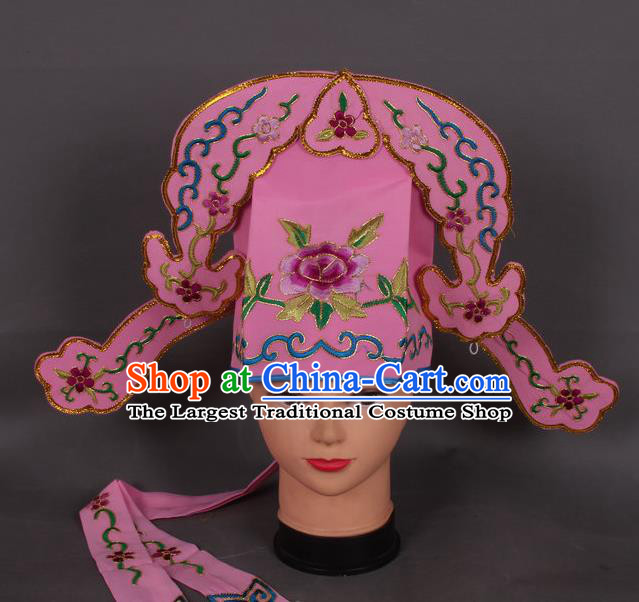 Traditional Chinese Shaoxing Opera Niche Deep Pink Hat Ancient Gifted Scholar Hair Accessories Headwear for Men
