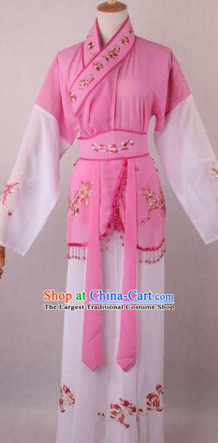 Professional Chinese Shaoxing Opera Servant Girl Pink Dress Ancient Traditional Peking Opera Maidservant Costume for Women