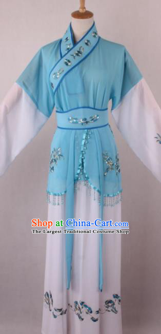 Professional Chinese Shaoxing Opera Servant Girl Blue Dress Ancient Traditional Peking Opera Maidservant Costume for Women
