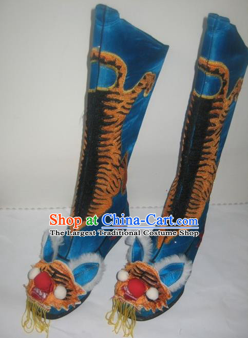 Traditional Chinese Beijing Opera Takefu Blue Boots Handmade Ancient General Tiger Shoes for Men