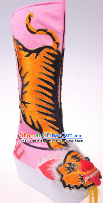 Traditional Chinese Beijing Opera Takefu Pink Boots Handmade Ancient General Tiger Shoes for Men