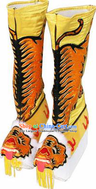 Traditional Chinese Beijing Opera Takefu Yellow Boots Handmade Ancient General Tiger Shoes for Men
