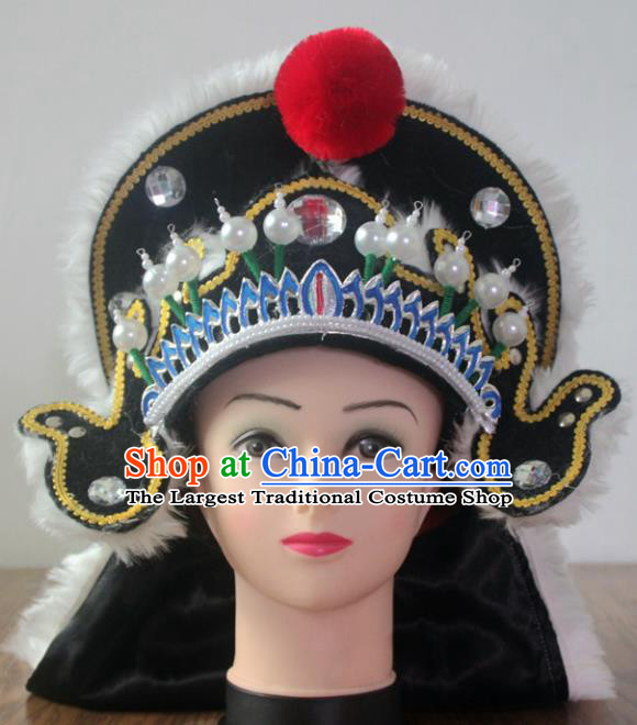 Traditional Chinese Shaoxing Opera Takefu Black Hat Ancient Warrior Helmet Headwear for Men