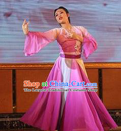 Traditional Chinese Classical Dance Mei Ren Gui Rosy Costume Stage Show Beautiful Dance Dress for Women