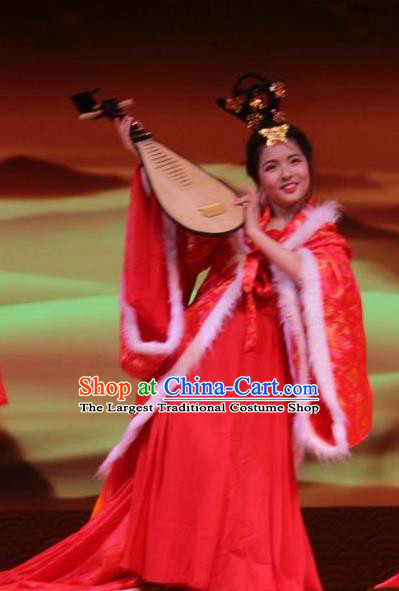 Chinese Beautiful Dance Wang Zhaojun Costume Traditional Han Dynasty Court Classical Dance Competition Dress for Women