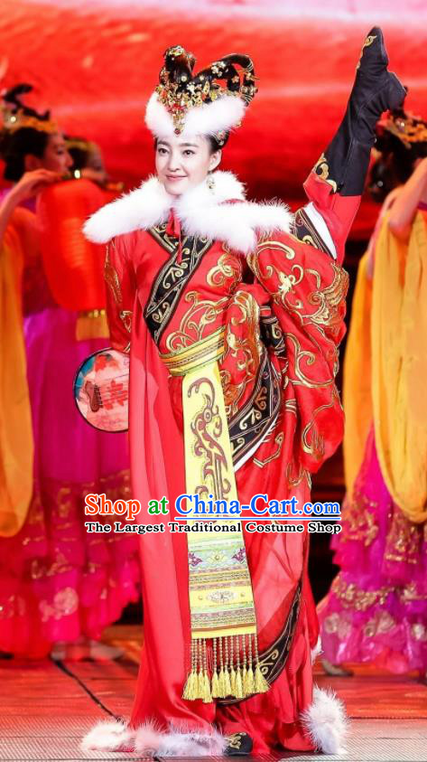 Chinese Beautiful Dance Four Beauties Wang Zhaojun Costume Traditional Classical Dance Competition Dress for Women