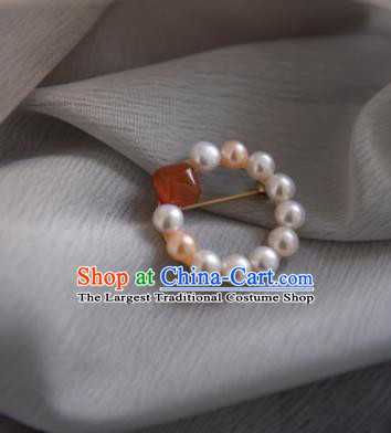 Chinese Ancient Cheongsam Pearl Brooch Jewelry Accessories Traditional Hanfu Breastpin for Women