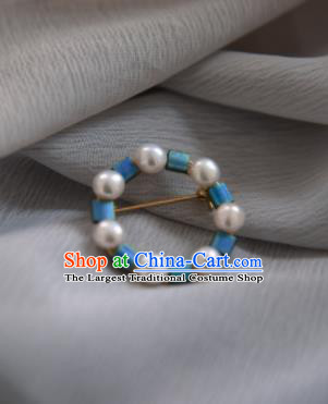 Chinese Ancient Cheongsam Blue Beads Brooch Jewelry Accessories Traditional Hanfu Breastpin for Women