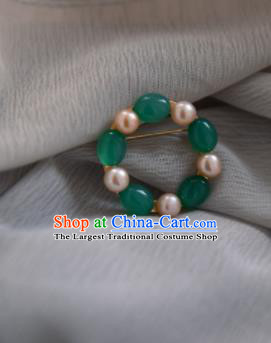 Chinese Ancient Cheongsam Green Beads Brooch Jewelry Accessories Traditional Hanfu Breastpin for Women