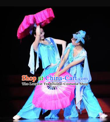 Beautiful Chinese Dance Flowers In Rain Fan Dance Costume Traditional Classical Dance Dress for Women