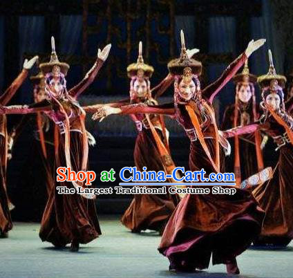 Beautiful Chinese Dance Wang Zhaojun Ethnic Dance Costume Traditional Classical Dance Dress for Women