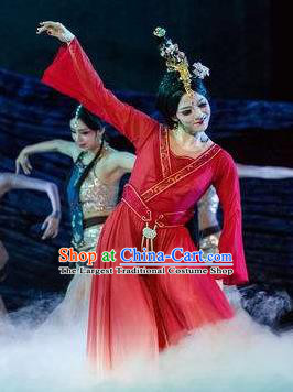 Beautiful Chinese Dance Wang Zhaojun Court Dance Red Costume Traditional Classical Dance Dress for Women