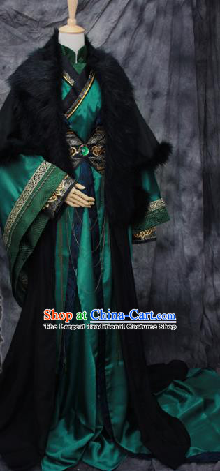 Traditional Chinese Cosplay Swordsman Deep Green Costume Ancient Royal Highness Hanfu Clothing for Men