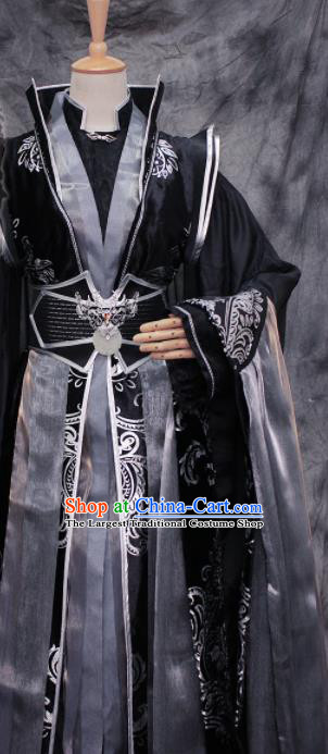 Traditional Chinese Cosplay King Swordsman Black Costume Ancient Royal Highness Hanfu Clothing for Men