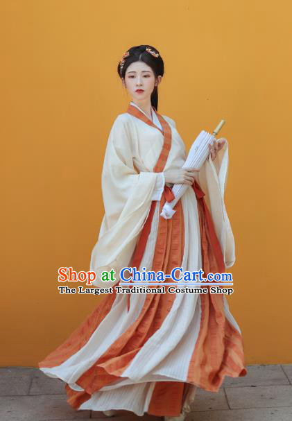 Traditional Chinese Jin Dynasty Palace Princess Historical Costume Ancient Court Maid Hanfu Dress for Women