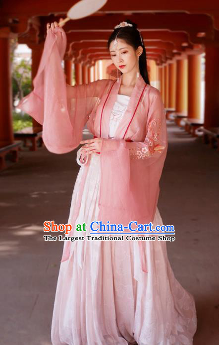Traditional Chinese Tang Dynasty Historical Costume Ancient Court Lady Pink Hanfu Dress for Women