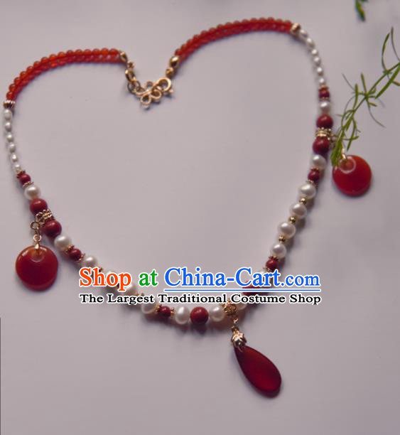 Chinese Ancient Princess Red Beads Jewelry Accessories Hanfu Tassel Necklace for Women