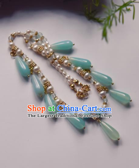Chinese Ancient Princess Green Beads Jewelry Accessories Hanfu Tassel Necklace for Women