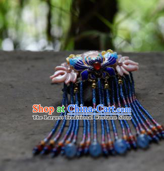 Chinese Ancient Princess Hair Accessories Cloisonne Butterfly Tassel Hair Claw Traditional Hanfu Hairpins for Women