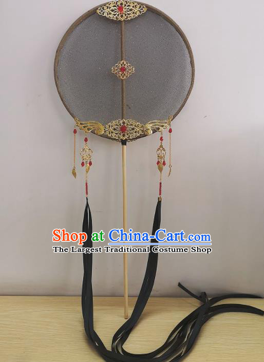 Chinese Ancient Princess Wedding Black Silk Palace Fans Traditional Hanfu Round Fan for Women