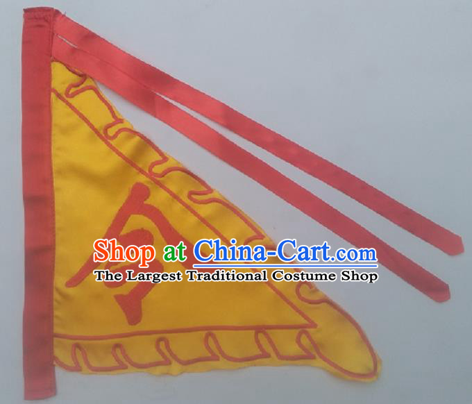 Chinese Traditional Yellow Triangular Flag Dragon Boat Competition Embroidered Flag