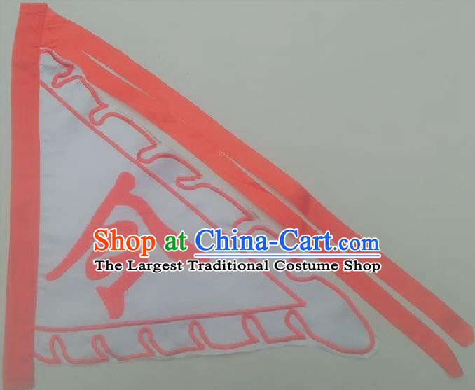 Chinese Traditional White Triangular Flag Dragon Boat Competition Embroidered Command Flag