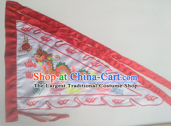 Chinese Traditional White Flag Dragon Boat Competition Embroidered Dragon Flag
