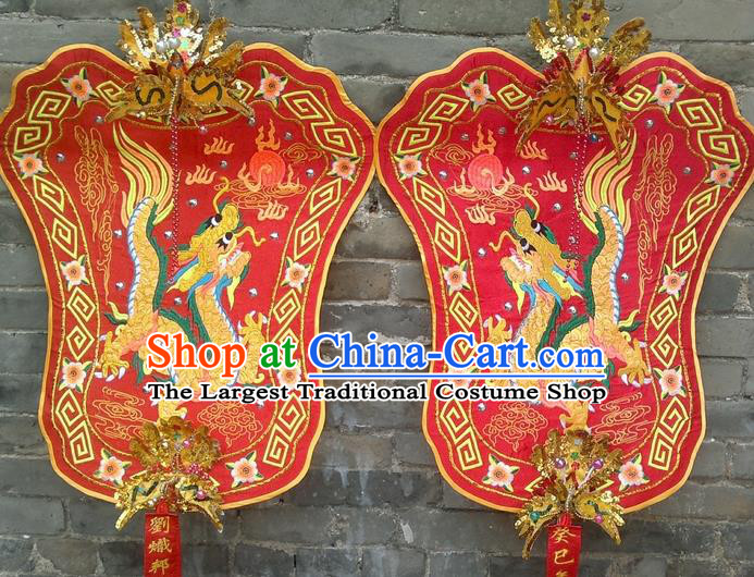 Chinese Traditional Temple Red Fan Boat Competition Embroidered Flag Fans