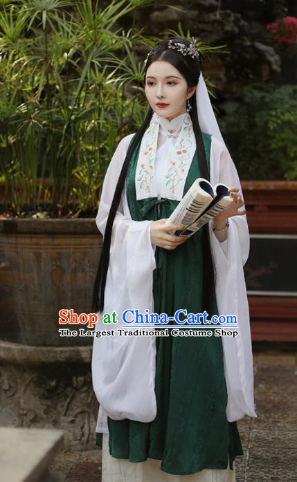 Traditional Chinese Ming Dynasty Countess Historical Costume Ancient Drama Taoist Nun Green Hanfu Dress for Women