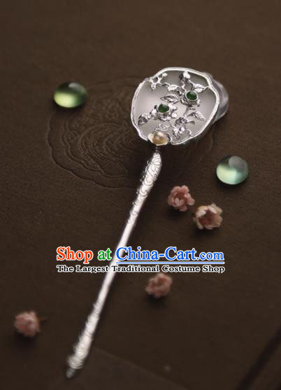 Chinese Ancient Princess Carving Plum Jade Hairpins Traditional Hanfu Hair Accessories for Women