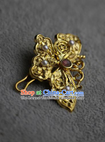 Chinese Ancient Queen Golden Butterfly Hair Claw Hairpins Traditional Hanfu Hair Clip Hair Accessories for Women
