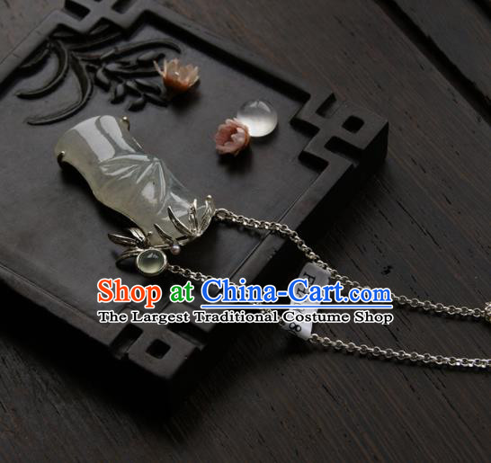 Chinese Ancient Court Jade Bamboo Necklace Pendant Traditional Princess Hanfu Necklet Accessories for Women