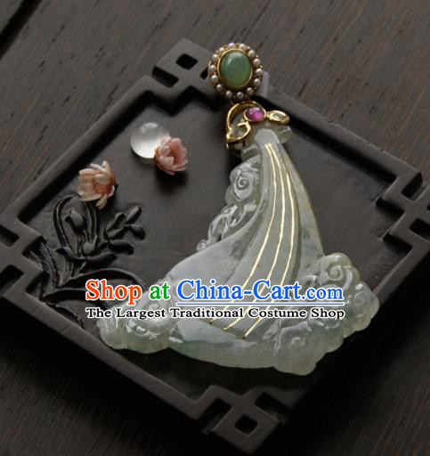 Chinese Ancient Court Jade Cloud Necklace Pendant Traditional Princess Hanfu Necklet Accessories for Women